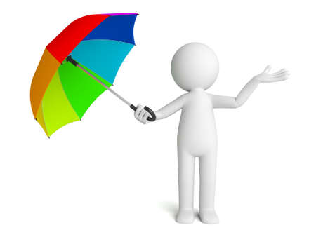 3D guy and a colorful umbrella