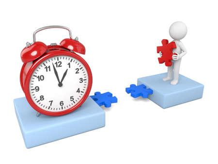 3D guy and a clock Фото со стока