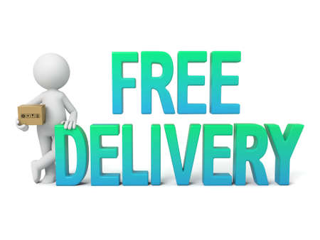 3D guy and the word free delivery  Banco de Imagens