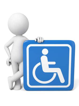 persona en silla de ruedas: Individuo 3D y signo de desactivar