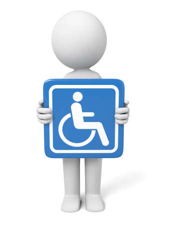 disable: 3D guy with disable sign Stock Photo