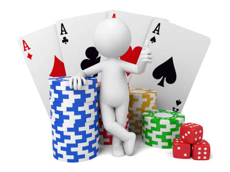 gambling counter: 3D guy and poker cards Stock Photo