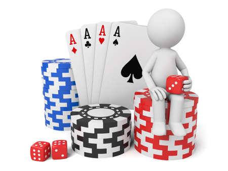 3D guy and poker cards Stok Fotoğraf