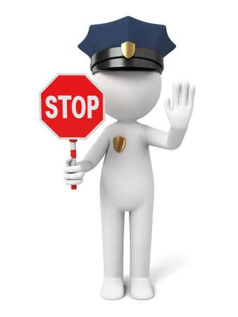 停止ジェスチャーを示す 3 d 警官