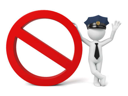 forbid: A 3d policeman and forbid sign