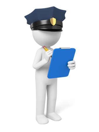 A 3d policeman is writing  a ticket