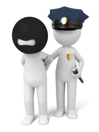 3 d の警官によって逮捕されたテロリスト
