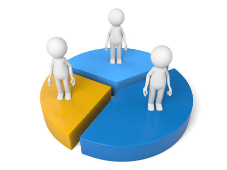 3D people standing on pie chart Stock Photo