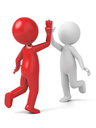 manos aplaudiendo: Dos personas en 3D est�n aplaudiendo las manos