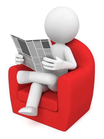 3D guy sat on  sofa reading  newspaper