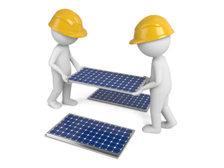panels: Two 3d worker and a few pieces of solar panels Stock Photo