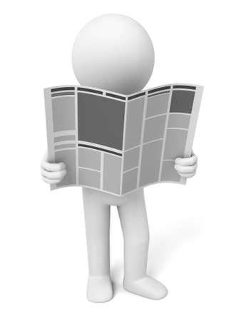 3d guy: 3D guy  reading  newspaper