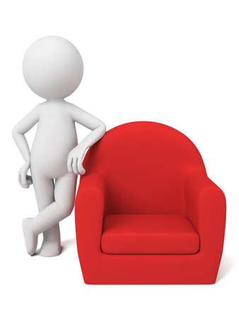 3D guy and a red sofa Stock Photo