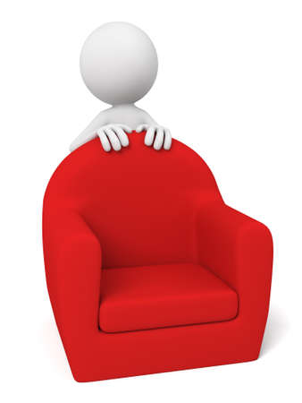 settee: 3D guy and a red sofa Stock Photo