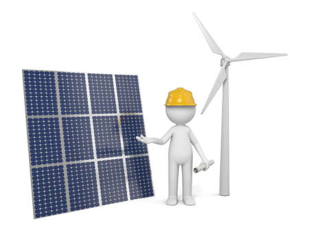 wind:   3D guy and solar panel Stock Photo