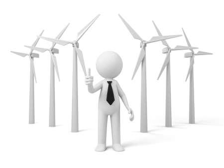 generators: A 3D guy Wind power generators Stock Photo