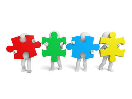 four people: Four 3d people holding puzzles Stock Photo