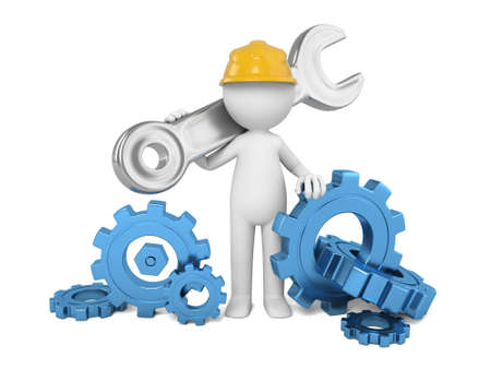 A 3D guy holding wrench among cogwheels Stock Photo