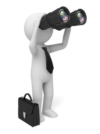 foresight: A 3D guy looking through binoculars Stock Photo