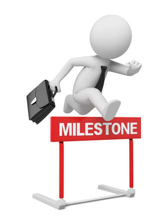 businessman jumping: the 3D businessman jumping over milestone hurdle Stock Photo