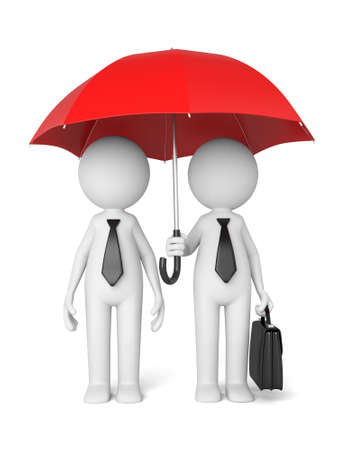 red umbrella: Two 3d people under the red umbrella Stock Photo
