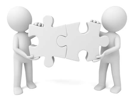 Two 3d people joining puzzle pieces together