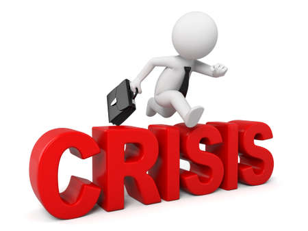 crisis: Concept of 3d guy overcoming crisis