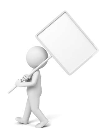 blank sign: The 3D person holding a blank sign