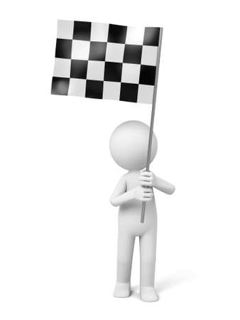 chequered: 3d guy holding a chequered flag Stock Photo