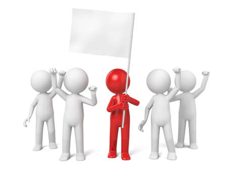 morale: The leader of 3d people holding a white flag