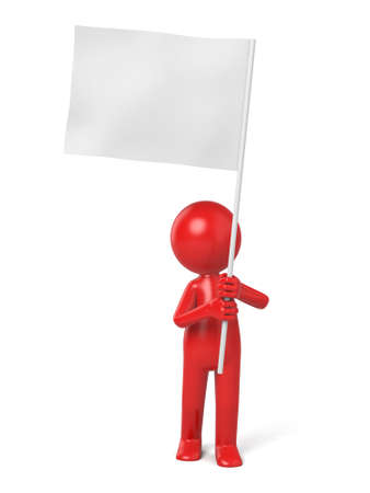 surrender: The 3d person holding a white flag Stock Photo