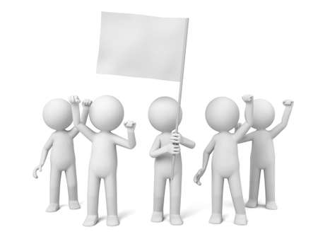 white people: The leader of 3d people holding a white flag