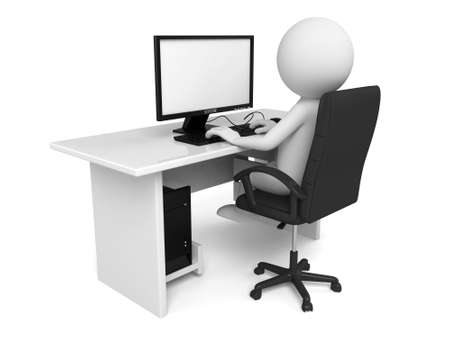 The 3d person working in the office Standard-Bild