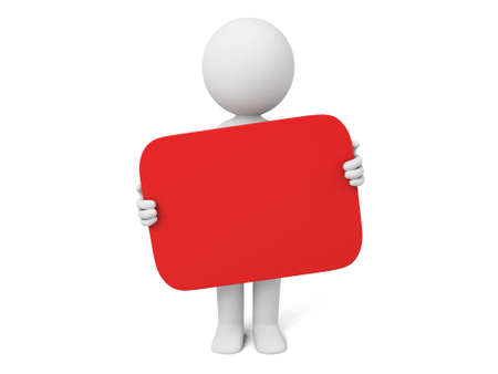 person:  3D person holding red board