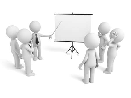 A 3d businessman presenting in front of his colleagues Stok Fotoğraf