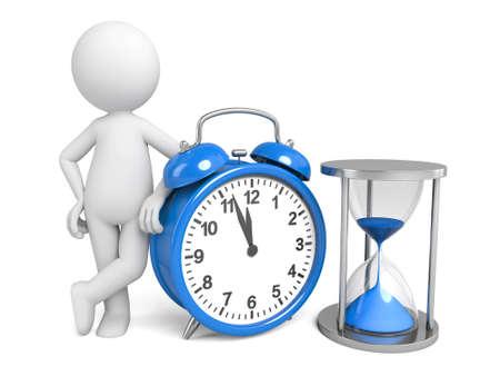 3 d 人時計と砂時計 写真素材