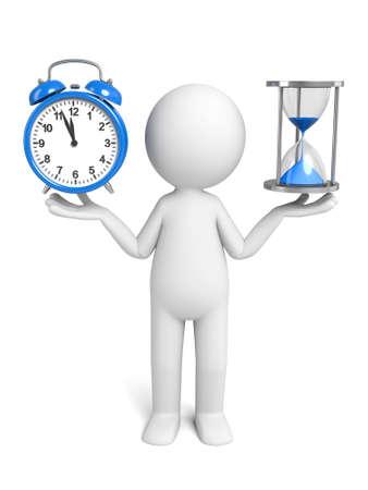 3 d 人時計と砂時計 写真素材 - 49688771