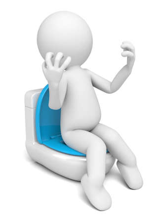 closestool: The 3D person sitting on a toilet bowl