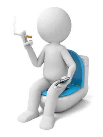 persona fumando: La persona que fuma en 3D, mientras que en el inodoro Foto de archivo