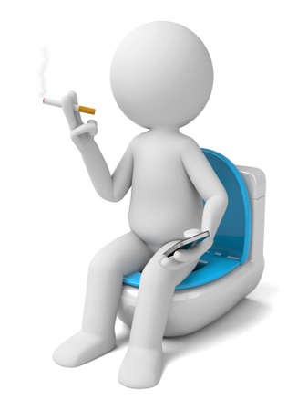 toilet: The 3D person smoking while in the toilet Stock Photo