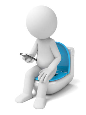 closestool: The 3D person texting on mobile phone while in the toilet Stock Photo