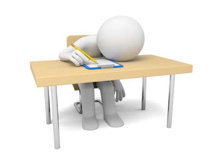 agotado: La persona 3D agotado en el trabajo