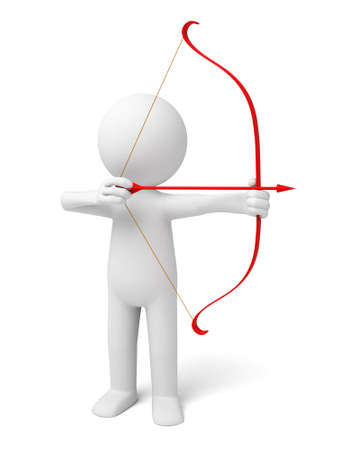 archer cartoon: The 3D person with bow and arrow