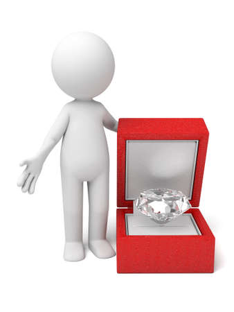 propose: The 3D guys propose with diamond Stock Photo