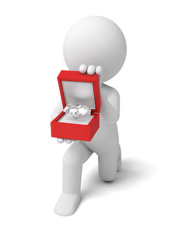 proposing: The 3D guys propose with diamond Stock Photo