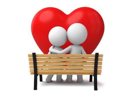enamorados caricatura: Una pareja sentada en un banco