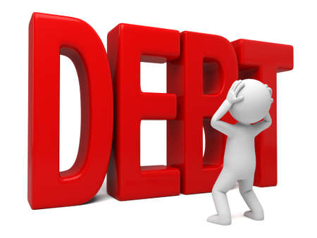 debtor: 3D guy and debt word