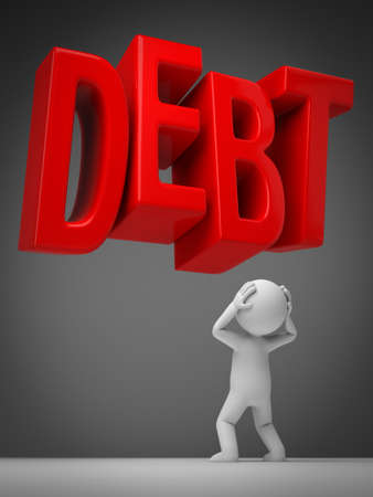 3D guy and debt word