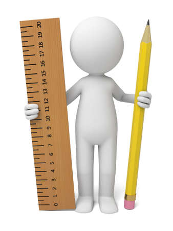 men: The 3D guy  holding ruler and pencil