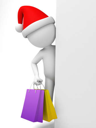 retail sales: The 3D guy holding shopping bags